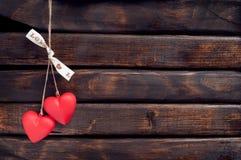 Coeur de deux rouges Photographie stock libre de droits