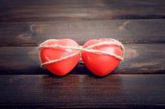 Coeur de deux rouges Photographie stock