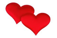 Coeur de deux rouges d'isolement sur le blanc Photos libres de droits