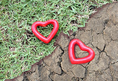 Coeur de deux rouges sur l'herbe et la terre aride Photo libre de droits