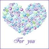 Coeur de différentes gemmes bleues Photo libre de droits