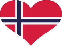 Coeur de drapeau de la Norvège illustration de vecteur