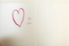 Coeur de Drawed sur le miroir Photos libres de droits