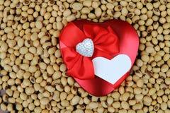 Coeur de fantaisie rouge sur le haricot de soja Photo libre de droits
