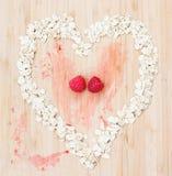 Coeur de farine d'avoine avec des framboises Image libre de droits