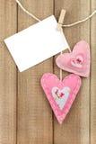 Coeur de feutre de rose Image stock
