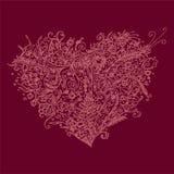 Coeur de fines herbes dans le style de zentangle Coeur tiré par la main d'isolement au fond violet Configuration de fleurs Design illustration stock