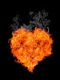 Coeur de flamme avec de la fumée Images stock