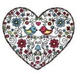 Coeur de fleur avec des oiseaux illustration libre de droits