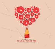 Coeur de fleur avec le crayon rouge Image libre de droits