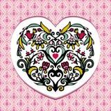 Coeur de fleur d'oiseau de valentines de salutation Image libre de droits