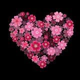 Coeur de fleur Je t'aime - coeur avec l'effet 3d Photos stock