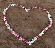 Coeur de fleur sur la plage Photo stock