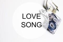 Coeur de forme de bande de cassette sonore de l'OM de fond de chanson d'amour Photographie stock libre de droits