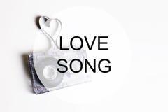 Coeur de forme de bande de cassette sonore de l'OM de fond de chanson d'amour Photos stock