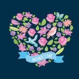 Coeur de forme de fleurs et de feuilles avec le jour de mères de ruban d'oiseaux Photos stock