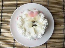coeur de gâteau mignon doux de crème de vanille d'amour Image stock