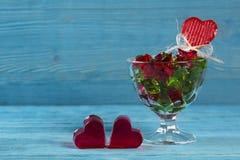 Coeur de gelée et de bol de gelée Photo libre de droits