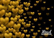 Coeur de gemme d'or sur le fond noir Carte de voeux heureuse de jour de Valentines Affiche d'or de vacances avec des bijoux de di Images libres de droits