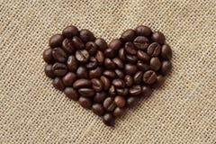 Coeur de grains de café Photographie stock
