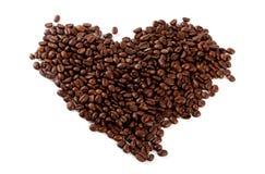 Coeur de grains de café images stock