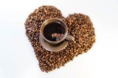 Coeur de grains de café Photos libres de droits