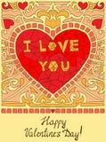 Coeur de griffonnage de mosaïque Carte de voeux Photographie stock libre de droits