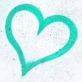 Coeur de grunge de turquoise Photo stock