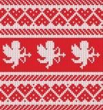 Coeur de jacquard, silhouette de cupidon Configuration de tricotage sans joint Illustration de Vecteur
