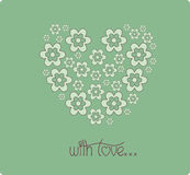 Coeur de jour de valentines de carte de fleurs Photo stock