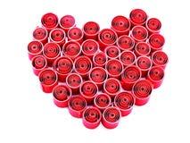 Coeur de jour de valentines fait en pli de papier rouge Photos stock