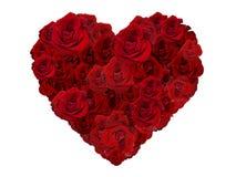 Coeur de jour de valentines fait de roses rouges d'isolement sur le fond blanc Photographie stock