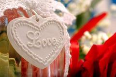 Coeur de l'inscription d'amour pour le jour de valentines Photos libres de droits
