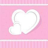 Coeur de la carte de papier de jour de valentines Photos libres de droits