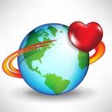 Coeur de la terre et de satellite Photos stock