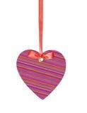 Coeur de label d'étiquette de textile avec l'arc de ruban d'isolement Images stock