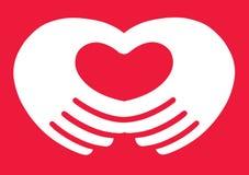 Coeur de main Images libres de droits