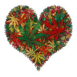 Coeur de marijuana illustration stock