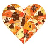 Coeur de mosaïque avec le cadeau, ballons Valentine \ 'jour de s Photo libre de droits