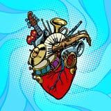 Coeur de musical d'orchestre de jazz illustration de vecteur