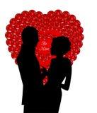 Coeur de paillettes avec des couples Photos stock