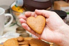 Coeur de pain d'épice Photographie stock