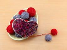 Coeur de panneau dans l'art de ficelle de style Image stock