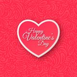 Coeur de papier rose Carte de voeux de jour de valentines dessus Photos libres de droits