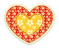 Coeur de patchwork d'isolement sur le blanc image stock