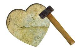 Coeur de pierre - concept d'amour non récompensé Images stock