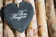 Coeur de pierre de schiste, texte Photographie stock libre de droits