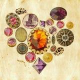 Coeur de pierres précieuses sur le fond grunge Photos libres de droits