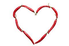 Coeur de piment de l'amour Photographie stock