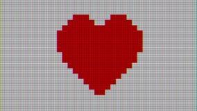 Coeur de pixel sur rétro joyeux de vieilles de TV d'écran de boucle de problème d'interférence vacances dynamiques sans couture n illustration libre de droits